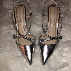 ZARA WOMAN silver slingback pointy kitten heels 8